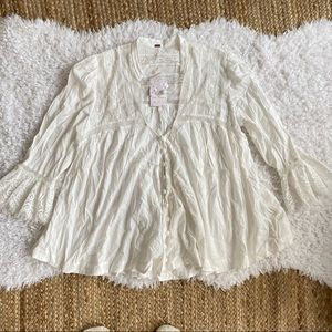 FREE PEOPLE NWT White Button Down Lace Blouse